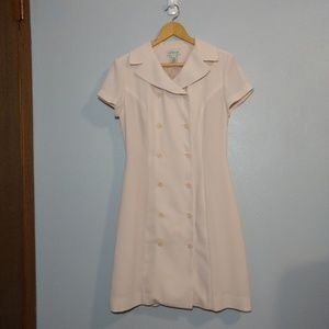 Ann Taylor Double Breasted Dress Pink